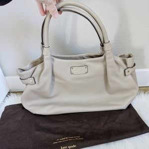 KATE SPADE Stevie Tan Taupe Leather Satchel Bag